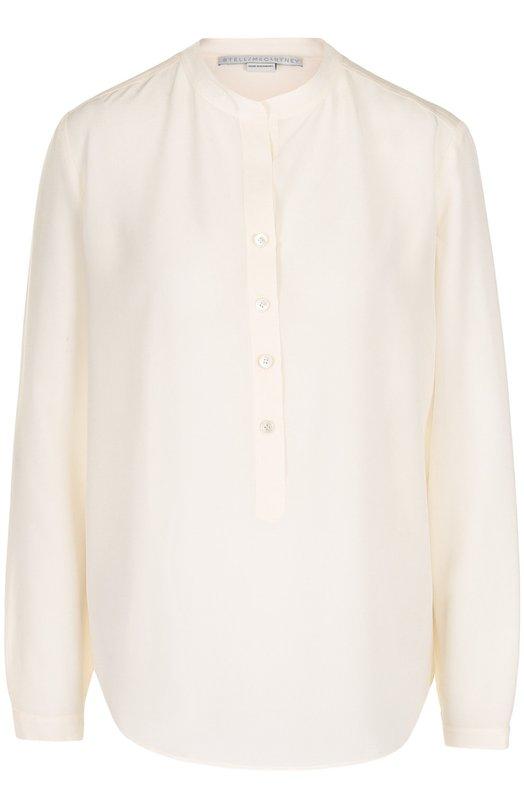 Прямая шелковая блуза с воротником-стойкой Stella McCartney, 358313/SY206, Венгрия, Бежевый, Шелк: 100%;  - купить