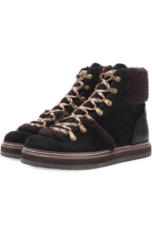 Комбинированные ботинки с меховой отделкой See by Chlo SB27100/4180