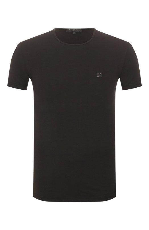 Хлопковая футболка с круглым вырезом Ermenegildo Zegna. Цвет: черный