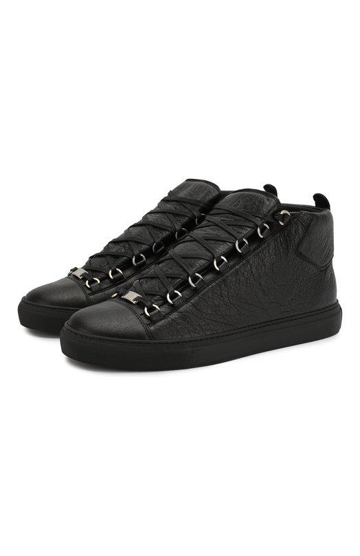 Купить Высокие кожаные кеды на шнуровке Balenciaga, 483497/WAY40, Испания, Черный, Кожа натуральная: 100%; Стелька-кожа: 100%; Подошва-резина: 100%;