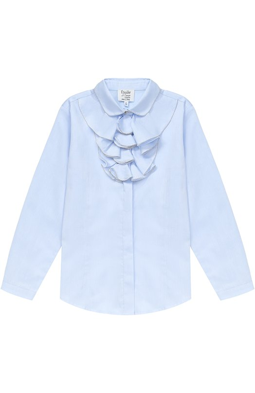 Купить Хлопковая блуза прямого кроя с оборками и декоративной отделкой Aletta, AC777357ML/9A-16A, Италия, Голубой, Хлопок: 100%;