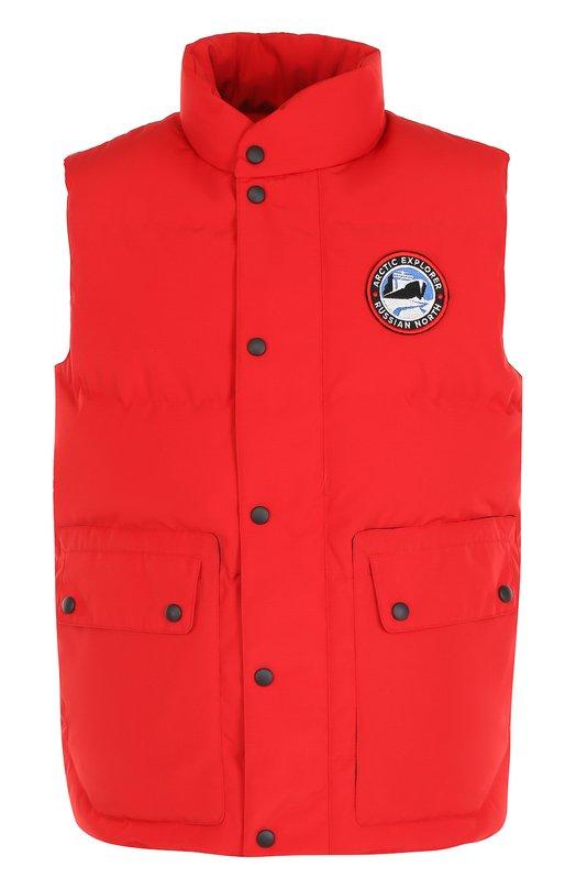 Пуховый стеганый жилет на молнии с воротником-стойкой Arctic Explorer. Цвет: красный