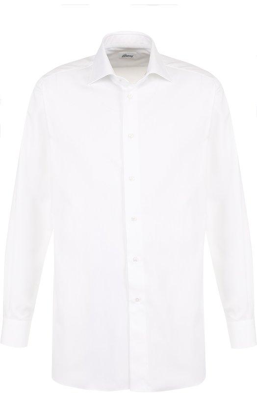 Купить Хлопковая сорочка с воротником кент Brioni, RCL9/PZ015/R, Италия, Белый, Хлопок: 100%;