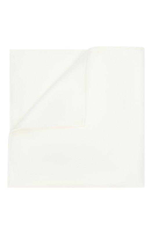 Купить Шелковый однотонный платок Canali, 03/HS00047, Италия, Белый, Шелк: 100%;