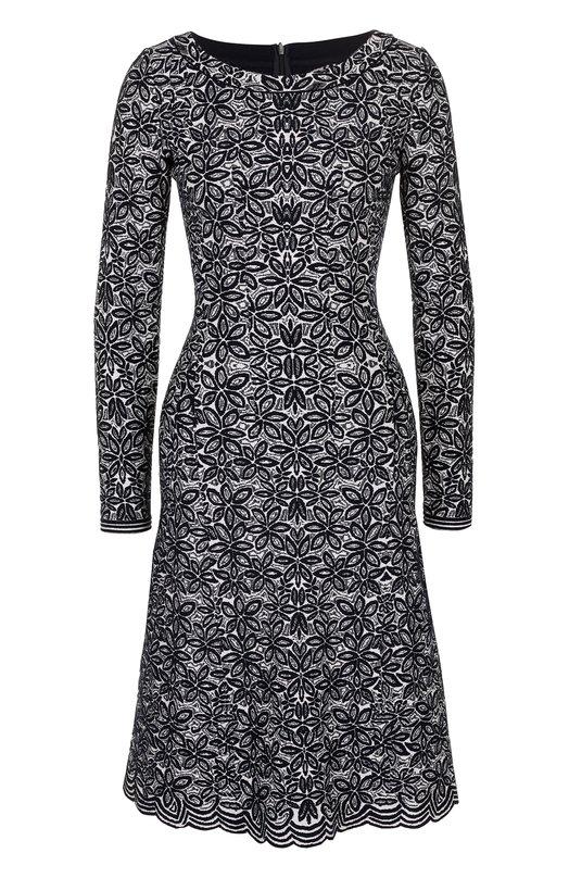 Приталенное платье-миди с принтом Alaia. Цвет: разноцветный