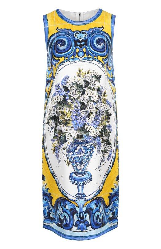 Купить Шелковое платье прямого кроя с принтом Dolce & Gabbana, 0102/F65G8T/GDF89, Италия, Разноцветный, Шелк: 100%; Подкладка-шелк: 100%;
