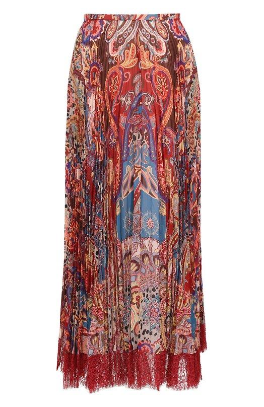 Шелковая плиссированная юбка с принтом Roberto Cavalli, FQT312/GFF42, Италия, Разноцветный, Шелк: 100%; Подкладка-шелк: 100%; - купить