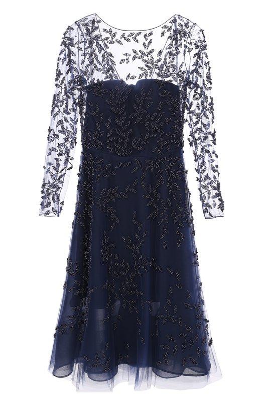 Платье с прозрачным лифом и вышивкой Oscar de la Renta, P17E657NAV, США, Синий, Подкладка-шелк: 100%; Полиамид: 100%;  - купить
