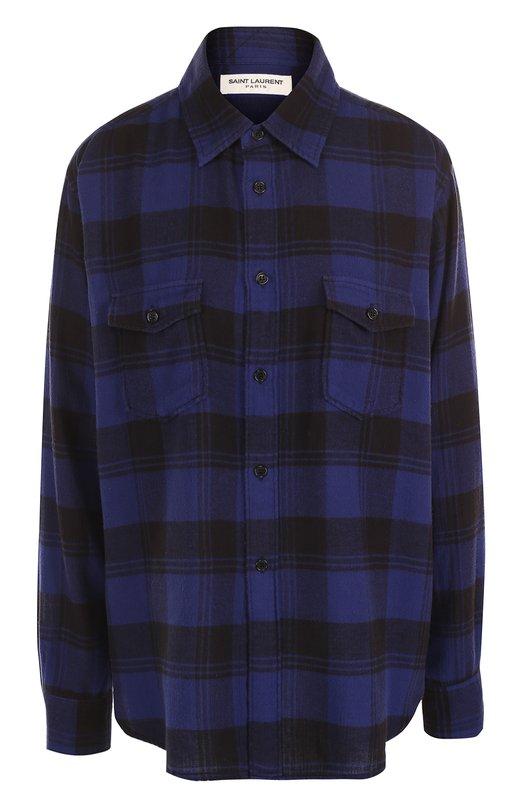 Хлопковая блуза в клетку с накладными карманами Saint Laurent, 482995/Y072R, Япония, Синий, Хлопок: 100%;  - купить