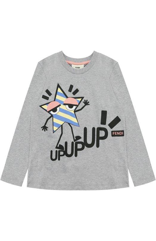 Купить Хлопковый свитшот с принтом Fendi, JFI072/7AJ/6A-8A, Португалия, Серый, Хлопок: 100%;