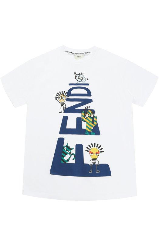 Купить Хлопковая футболка с принтом Fendi, JMI102/7AJ/6A-8A, Португалия, Белый, Хлопок: 100%;