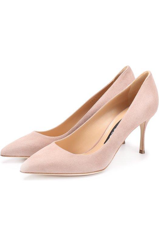Купить Замшевые туфли на шпильке Sergio Rossi, A43841-MCAZ01, Италия, Светло-розовый, Стелька-кожа: 100%; Подошва-кожа: 100%; Замша натуральная: 100%; Подкладка-кожа: 100%; Кожа: 100%;