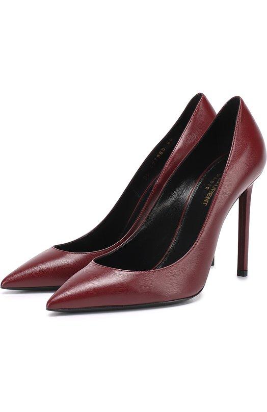 Купить Кожаные туфли Anja на шпильке Saint Laurent, 471988/AKP00, Италия, Бордовый, Кожа натуральная: 100%; Стелька-кожа: 100%; Подошва-кожа: 100%;