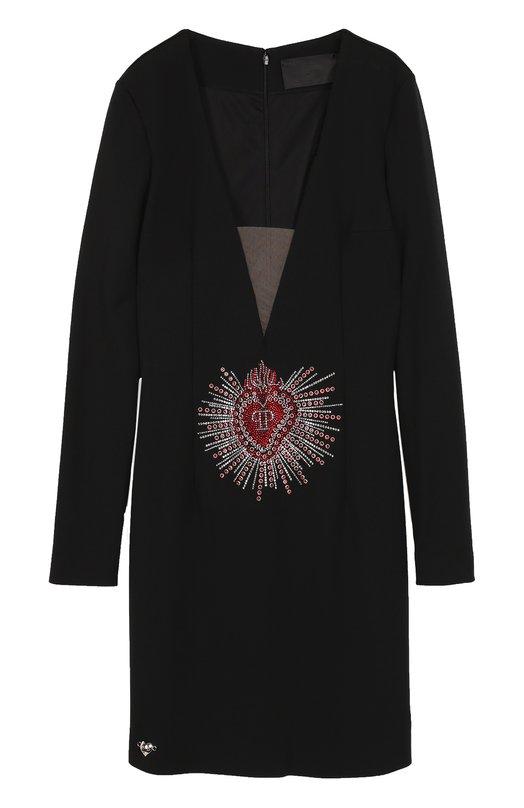 Купить Платье-футляр с глубоким V-образным вырезом Philipp Plein, F17C WRG0229 PTE032N, Италия, Черный, Эластан: 9%; Вискоза: 68%; Полиамид: 23%;