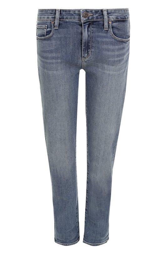 Купить Укороченные джинсы прямого кроя с потертостями Paige, 3505984-4550, США, Голубой, Хлопок: 94%; Полиэстер: 5%; Эластан: 1%;
