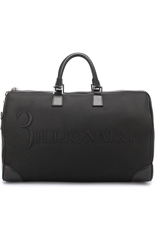 Купить Текстильная дорожная сумка с плечевым ремнем Billionaire, W17A MBD_0028 BLE029N, Италия, Черный, Кожа натуральная: 100%; Нейлон: 100%;