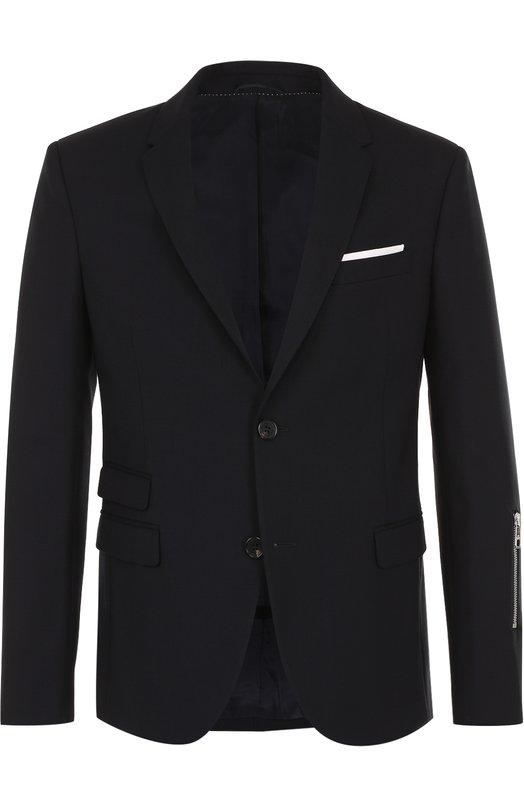 Купить Шерстяной однобортный пиджак с декоративной молнией Neil Barrett, PBGI404/F028, Италия, Темно-синий, Шерсть: 95%; Подкладка-купра: 60%; Подкладка-эластан: 6%; Эластан: 5%; Подкладка-вискоза: 34%;