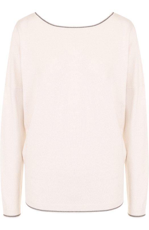 Купить Пуловер прямого кроя с V-образным вырезом на спинке Paul&Joe, GKR0KANT, Китай, Розовый, Хлопок: 68%; Шерсть: 30%; Люрекс: 2%;