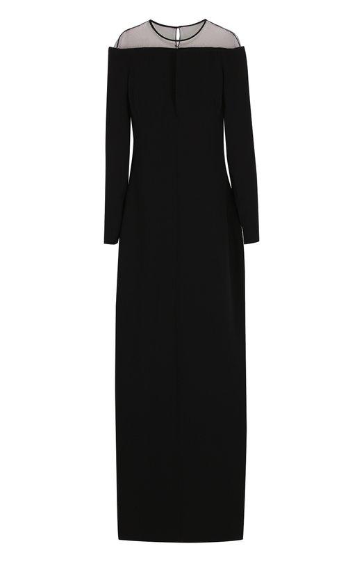 Купить Шелковое платье-макси с полупрозрачной вставкой Tom Ford, AB2022-FAX230, Италия, Черный, Шелк: 100%; Подкладка-шелк: 100%;