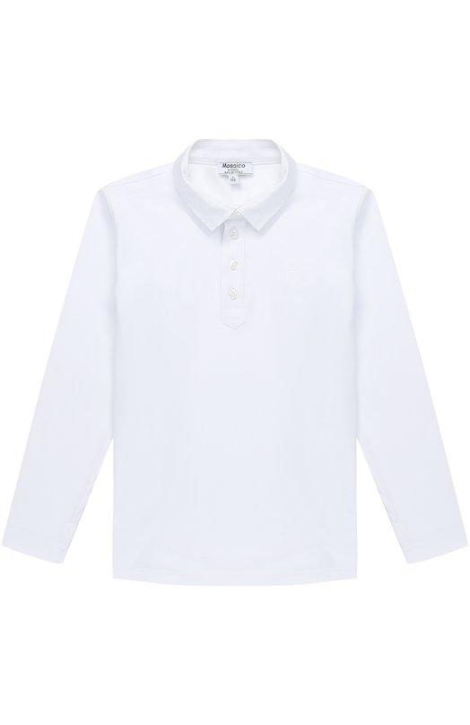 Купить Хлопковое поло с вышивкой и длинными рукавами Aletta, AM777393ML/9A-16A, Италия, Белый, Хлопок: 94%; Эластан: 6%;
