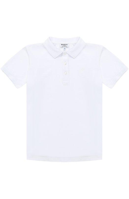Купить Хлопковое поло с вышивкой Aletta, AM777401MC/9A-16A, Италия, Белый, Хлопок: 94%; Эластан: 6%;