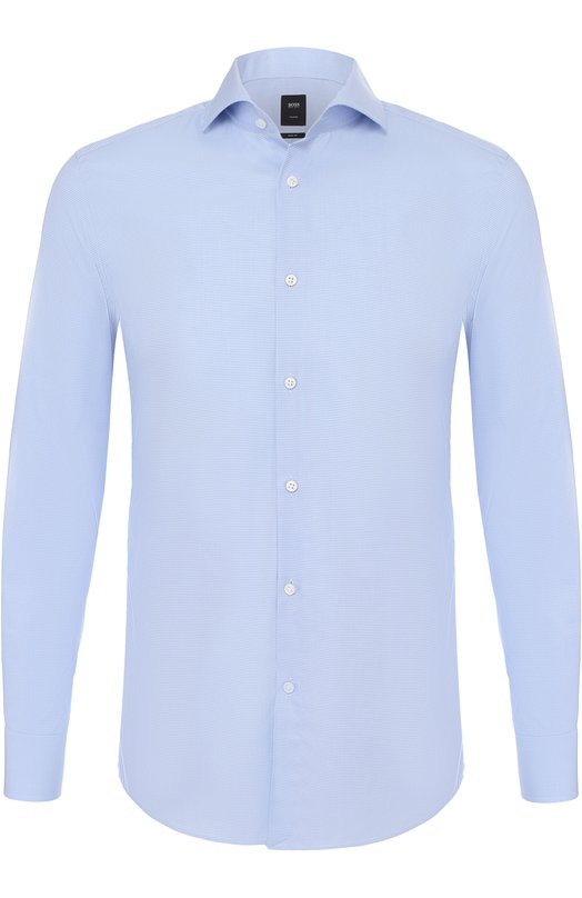 Купить Хлопковая сорочка с воротником акула BOSS, 50375168, Турция, Голубой, Хлопок: 100%;