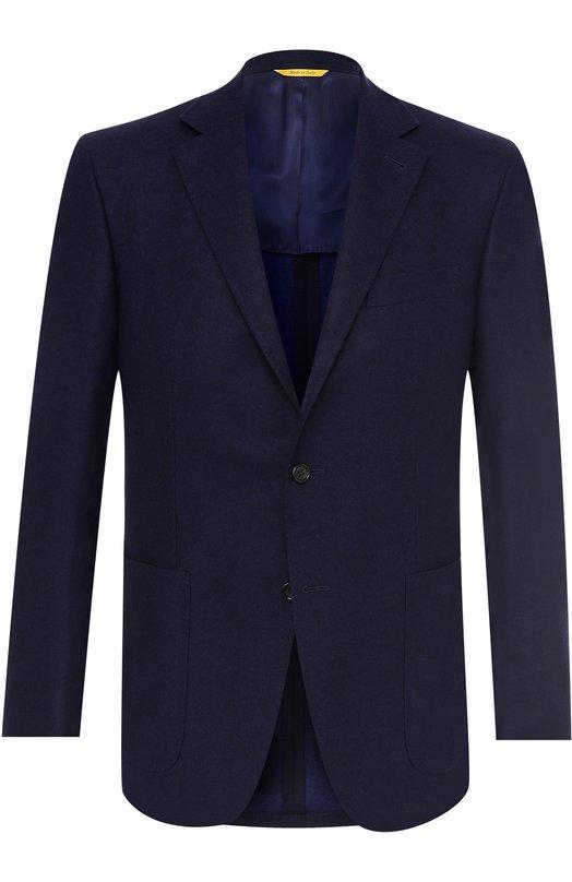 Купить Шерстяной однобортный пиджак Canali, 23275/CU00034/307, Италия, Темно-синий, Шерсть: 100%;