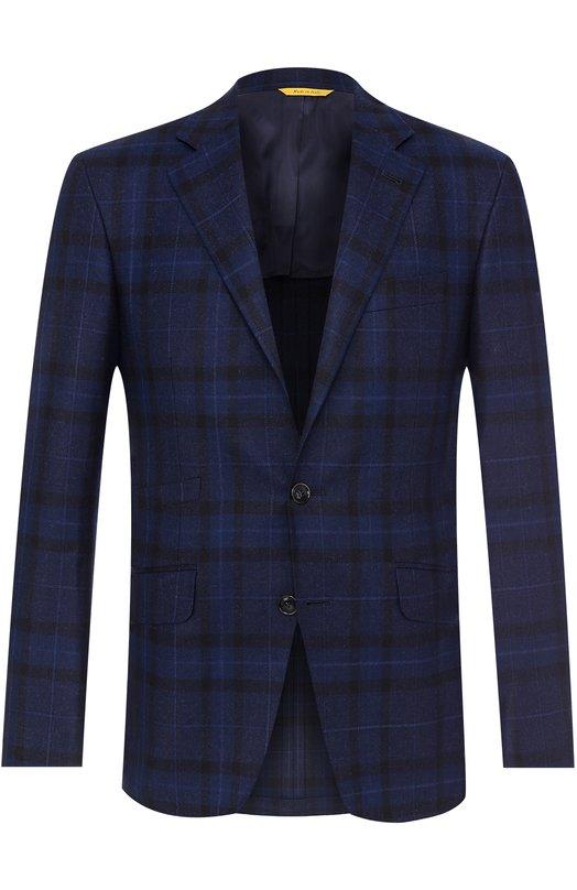 Купить Шерстяной однобортный пиджак в клетку Canali, 25277/CF01261, Италия, Темно-синий, Шерсть: 100%;