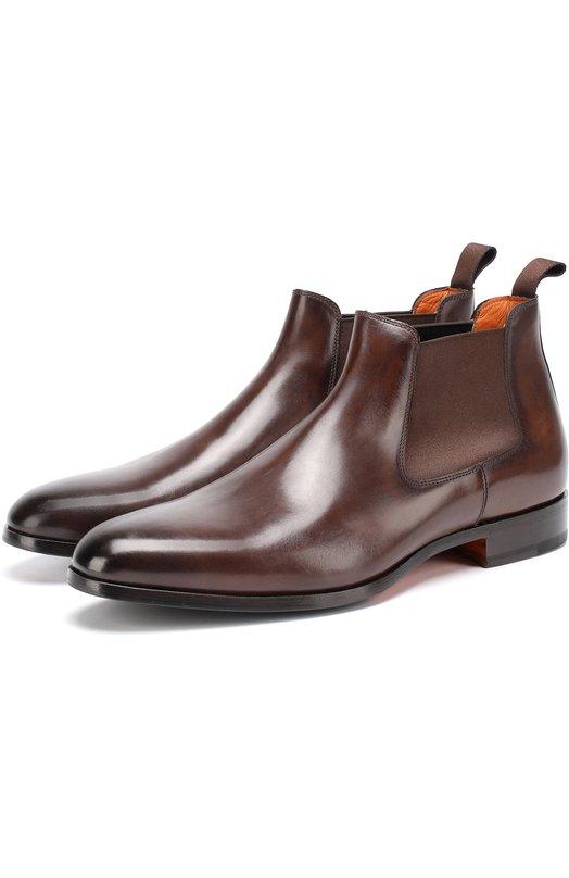 Купить Классические кожаные челси с заостренным мысом Santoni, MCKE14282JJ1I0BR, Италия, Коричневый, Кожа натуральная: 100%; Стелька-кожа: 100%; Подошва-кожа: 100%; Подошва-резина: 100%;