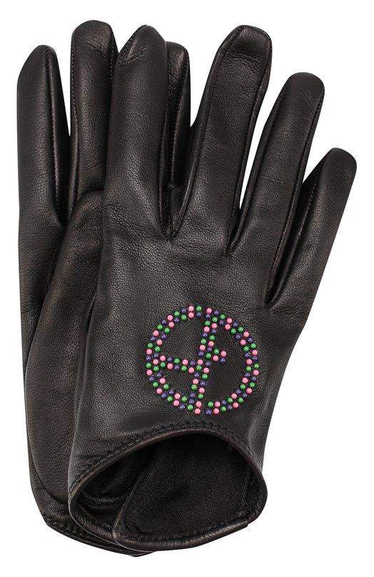 Купить Кожаные перчатки с декоративной отделкой Giorgio Armani, 794210/7A209, Италия, Черный, Кожа натуральная: 100%;