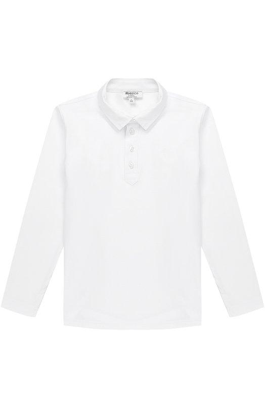 Хлопковое поло с вышивкой и длинными рукавами Aletta, AM777393ML/4A-8A, Италия, Белый, Хлопок: 94%; Эластан: 6%;  - купить