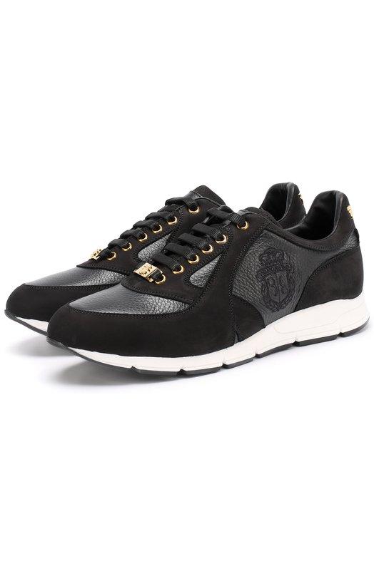 Купить Кожаные кроссовки на шнуровке с замшевой отделкой Billionaire Италия 5171557 W17S MSC_0526 BLE025N