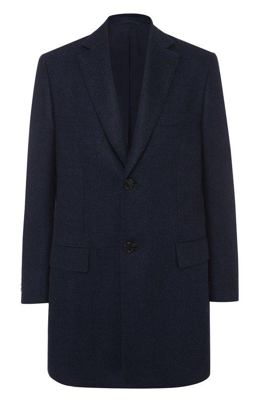 Купить Однобортное пальто из смеси шерсти и кашемира с шелком Brioni, R0NK/06AAW, Италия, Темно-синий, Мохер: 63%; Кашемир: 37%; Подкладка-купра: 100%;