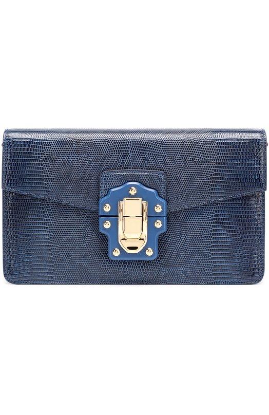 Купить Сумка Lucia из тисненой кожи Dolce & Gabbana, 0116/BB6358/A1095, Италия, Темно-синий, Кожа натуральная: 100%;