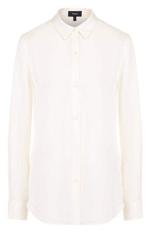 Купить Приталенная шелковая блуза Theory, F0002514, Китай, Белый, Шелк: 100%;