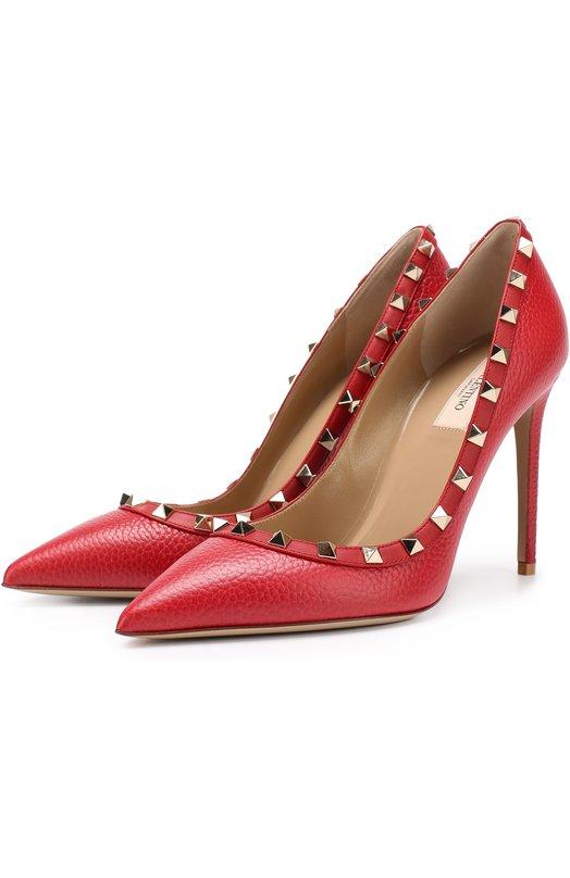 Купить Кожаные туфли Valentino Garavani Rockstud на шпильке Valentino, NW2S0057/VCE, Италия, Красный, Кожа натуральная: 100%; Стелька-кожа: 100%; Подошва-кожа: 100%;