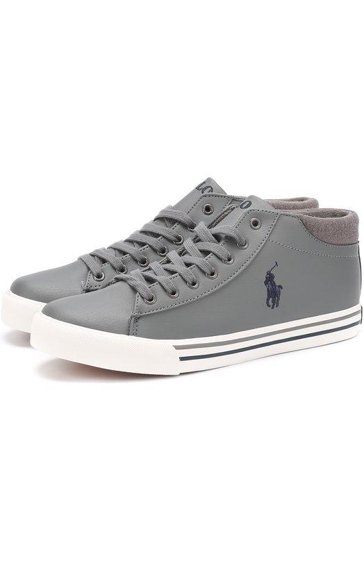 Купить HARRIS0N MID/JUNI, Кеды с текстильной отделкой и логотипом бренда Polo Ralph Lauren, Китай, Серый, Подошва-резина: 100%; Стелька-текстиль: 100%; Кожа искусственная: 100%;, Мужской, Спортивная обувь