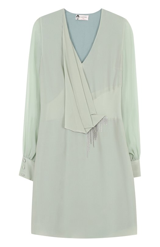 Шелковое мини-платье с V-образным вырезом и драпировкой Lanvin