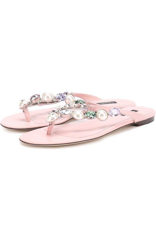 Кожаные шлепанцы с кристаллами Dolce & Gabbana