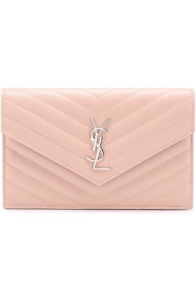 Сумка Monogram Envelope mini из стеганой кожи Saint Laurent светло-розовая | Фото №1