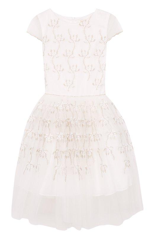Купить Платье с вышивками и декоративным поясом David Charles, 8101, Великобритания, Белый, Полиэстер: 100%; подкладка ацетат: 100%; Полиэстер: 100%; Подкладка-ацетат: 100%;
