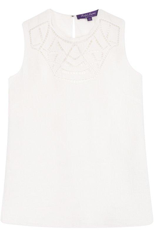 Купить Льняной топ прямого кроя с перфорацией Ralph Lauren, 290671374, Италия, Белый, Лен: 100%;