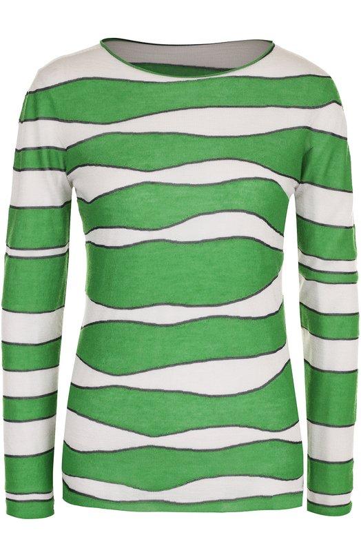 Купить Кашемировый пуловер с круглым вырезом и принтом Giorgio Armani, 6YAM04/AM22Z, Италия, Зеленый, Кашемир: 70%; Шелк: 30%;