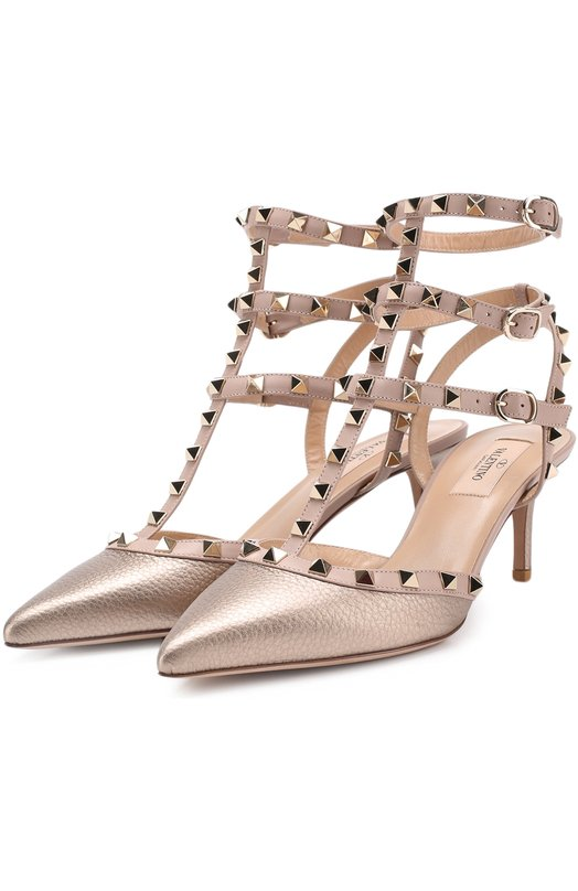 Купить Туфли Valentino Garavani Rockstud из металлизированной кожи с ремешками Valentino, NW2S0375/VIW, Италия, Золотой, Кожа натуральная: 100%; Стелька-кожа: 100%; Подошва-кожа: 100%;
