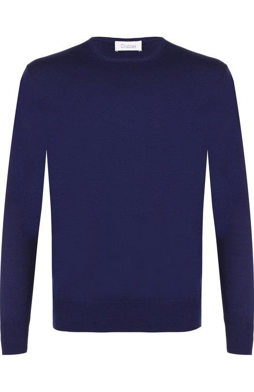 Купить Джемпер из шерсти тонкой вязки Cruciani, CU2050, Италия, Синий, Шерсть: 100%;