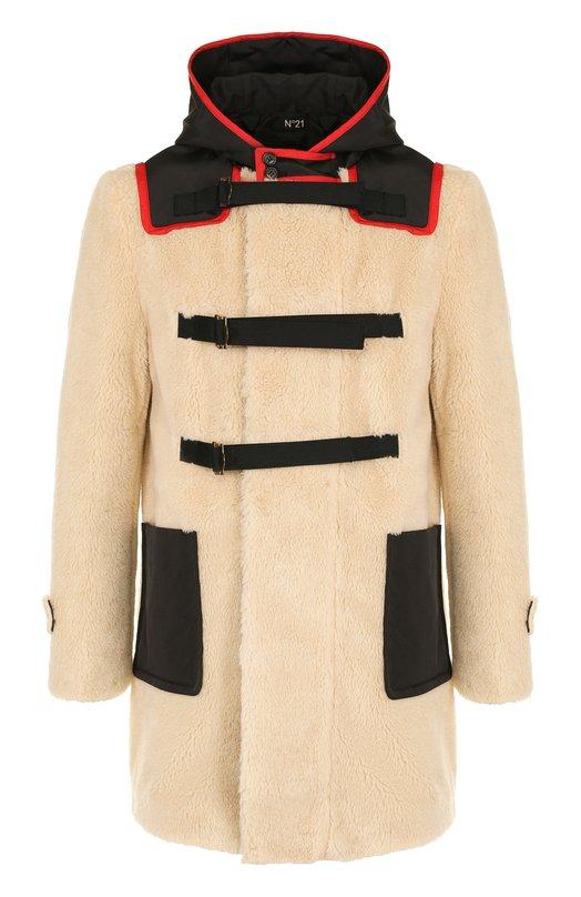 Купить Пальто из эко-меха на молнии с капюшоном No. 21, N1M/N033/2833, Италия, Бежевый, Полиэстер: 60%; Акрил: 40%; Отделка-полиэстер: 100%; Подкладка-полиамид: 100%;