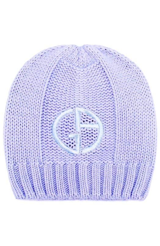 Купить Вязаная шапка с логотипом бренда Giorgio Armani, 797308/7A509, Италия, Лиловый, Кашемир: 8%; Шерсть: 47%; Вискоза: 30%; Полиамид: 15%;