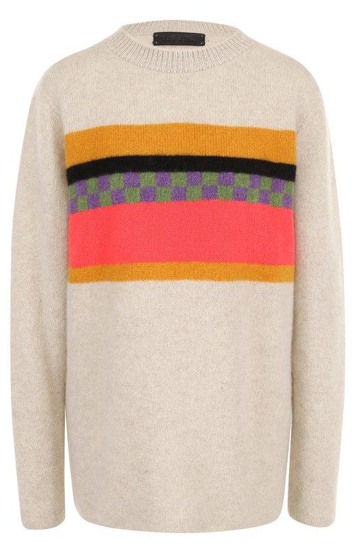 Купить Кашемировый пуловер прямого кроя с круглым вырезом The Elder Statesman, GFSC, США, Разноцветный, Кашемир: 100%;