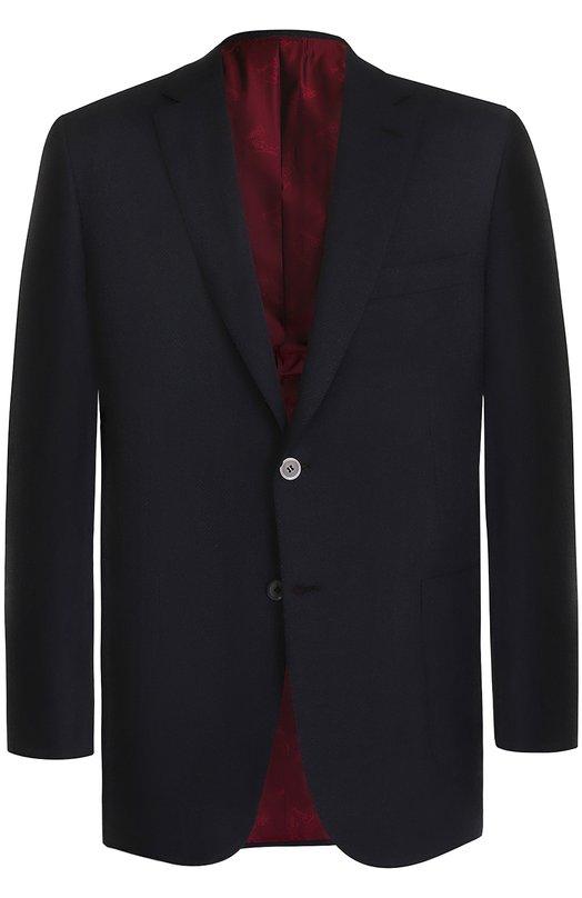 Купить Шерстяной однобортный пиджак Brioni, RG00/06AG1/BRUNIC0/2, Италия, Темно-синий, Шерсть: 70%; Мохер: 30%; Подкладка-купра: 100%;