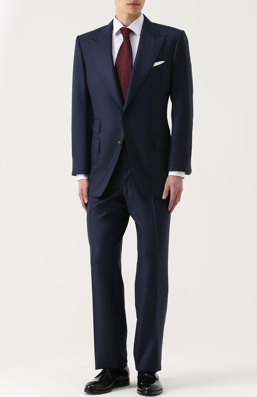 Купить Шерстяной костюм с пиджаком на двух пуговицах Tom Ford, 222R02/21AL41, Италия, Темно-синий, Подкладка-шелк: 50%; Подкладка-купра: 50%; Шерсть: 100%;